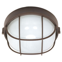1 CFL - Round Cage Bulk Head - Architectural Bronze/Frosted Glass - Nuvo 60-563