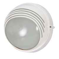 1 CFL - Round Hood Bulk Head - Semi Gloss White/Frosted - Nuvo 60-564