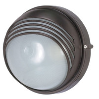 1 CFL - Round Hood Bulk Head - Architectural Bronze/Frosted Glass - Nuvo 60-565
