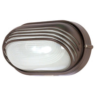 1 CFL - Oval Hood Bulk Head - Architectural Bronze/Frosted Glass - Nuvo 60-567