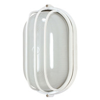 1 CFL - Oval Cage Bulk Head - Semi Gloss White/Frosted - Nuvo 60-568
