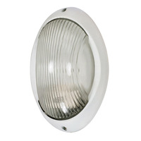 1 CFL - Large Oval Bulk Head - Semi Gloss White/Clear Diffuser - Nuvo 60-570