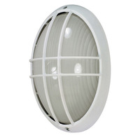 Nuvo 60-572 (1 CFL) Large Oval Cage Bulk Head - Semi Gloss White/Frosted