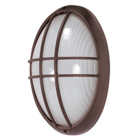 1 CFL - Large Oval Cage Bulk Head - Architectural Bronze/Frosted Glass - Nuvo 60-573