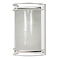 1 CFL - Rectangle Bulk Head - Semi Gloss White/Frosted - Nuvo 60-574