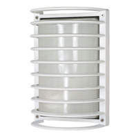 1 CFL - Rectangle Cage Bulk Head - Semi Gloss White/Frosted - Nuvo 60-576