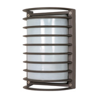 1 CFL - Rectangle Cage Bulk Head - Architectural Bronze/Frosted Glass - Nuvo 60-577