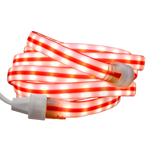 Red and white ribbon candy cane flat rope light ribbon candy cane flat rope light image aloadofball Images