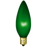 15 Watt - B10 - Emerald Green - 3.7 in. Length - Candelabra Base - 1,500 Life Hours - 130 Volt