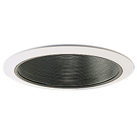 6 in. - Black Stepped Baffle with White Trim - Nora NTM-40