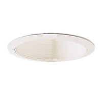 6 in. - White Stepped Baffle with Oversized Ring - PLT PTM41/OV