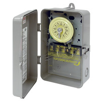 24 Hour Mechanical Dial Time Switch - Raintight Plastic Case - Gray Finish - 125 Volt - Intermatic T101P