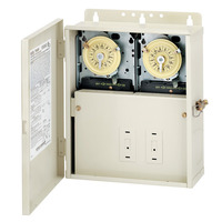 Intermatic T10404R - Pool-Spa Mechanical Control Center - Two T104M - All-Weather Steel Case - Light Beige Finish - DPST-DPST - 240-240 Volt