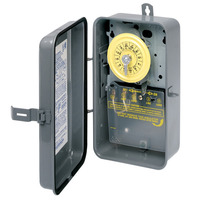 Intermatic T104R - 24 Hr. Dial Time Switch - NEMA 3R Raintight Steel Case - Gray Finish - DPST - 40 Amps - 208-277 Volt