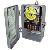 Precision CD104 - 24 Hr. Dial Time Switch - NEMA 3R Raintight Plastic Case - Gray Finish - DPST - 40 Amps - 208-277 Volt
