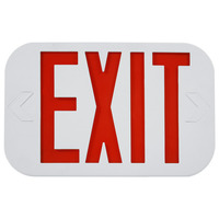 LED Exit Sign - White Thermoplastic - Red Letters - 120/277 Volt and Battery Backup - Exitronix ILX-R-EM-WH