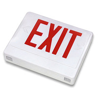 LED Exit Sign - White Thermoplastic - Red Letters - 120/277 Volt and Battery Backup - 6 Watt Remote Capability