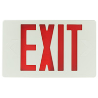 LED Exit Sign - Self-Testing - Red Letters - 120/277 Volt and Battery Backup - White - Exitronix VEX-U-BP-WB-WH-G2