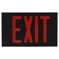 LED Exit Sign - Black Thermoplastic - Red Letters - 120/277 Volt and Battery Backup - Exitronix VEX-U-BP-WB-BL