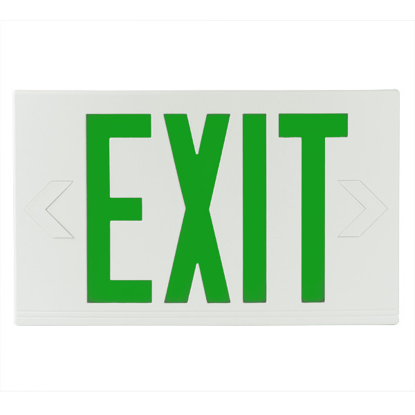 LED Exit Sign - White Thermoplastic - Green Letters Image