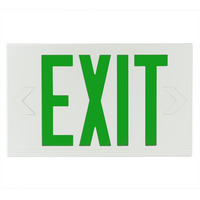 LED Exit Sign - White Thermoplastic - Green Letters - 120/277 Volt and Battery Backup - Exitronix GVEX-U-BP-WB-WH