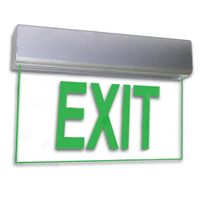 LED Exit Sign - Deluxe Edge-Lit - Green Letters - 120/277 Volt Operation - Exitronix 902-U-LB-GC-XX-BA