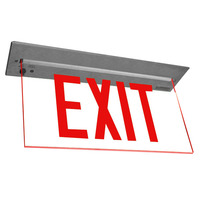 LED Exit Sign - Deluxe Edge-Lit - Red Letters - 120/277 Volt and Battery Backup - Exitronix 902-R-WB-RC-ZC-BA