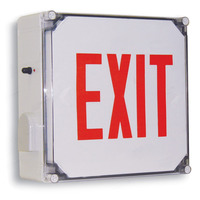 Single Face - LED Exit Sign - Wet Location - Red Letters - 120/277 Volt and Battery Backup - Exitronix VRC-1-R-WB