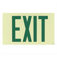 Single Face - Photoluminescent Exit Sign - Green Letters - 50 ft. Viewing Distance - 25 Year Effective Life - Unframed Wall Mount - Exitronix PL-1-U-1-G