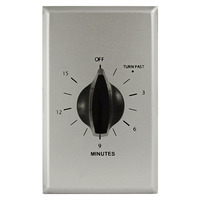 Precision PM-15M - Commercial Spring Wound Auto-Off Timer - 15 Min Time Cycle - SPST - Brushed Aluminum