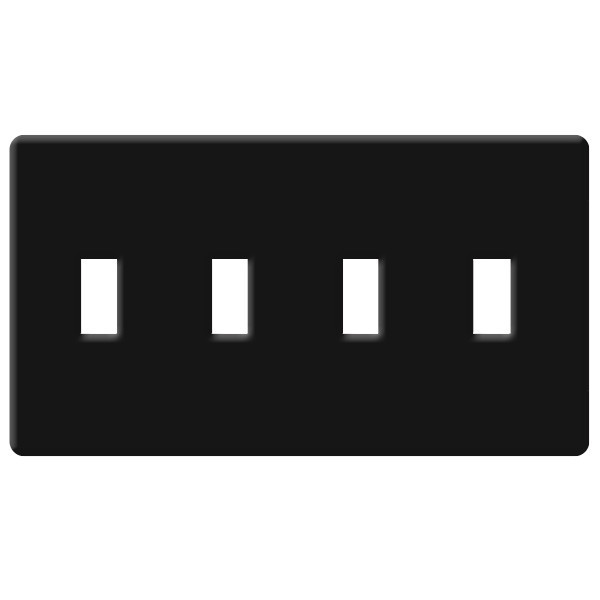 Toggle Wall Plate - Black - 4 Gang Image