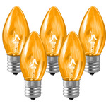 25 Pack - C9 - Transparent Amber -Triple Dipped - 7 Watt Image