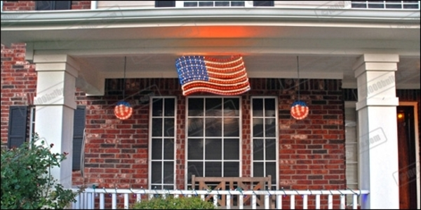 Rope Light - Hanging US Flag Image