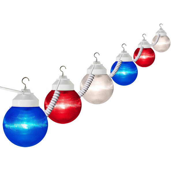 10) Red White and Blue Globes | Patio Light Stringer