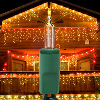 14 ft. Icicle Stringer - (150) Mini Lights - CLEAR - 27 Icicle Drops - Green Wire - Commercial Duty - 3 Set Max Connections