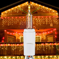 14 ft. Icicle Stringer - (150) Mini Lights - CLEAR - 27 Icicle Drops - White Wire - Commercial Duty - 3 Set Max Connections