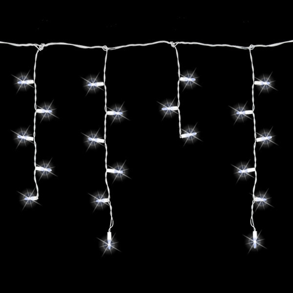 8 ft. Icicle Stringer - (70) LED Mini Lights - Pure White - White Wire Image