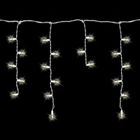 8 ft. Icicle Stringer - (70) LED Mini Lights - WARM WHITE - 15 Icicle Drops - White Wire - Commercial Duty - 45 Set Max Connections