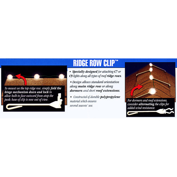 Ridge Row Clip | Christmas Light Clips | 50 Pack