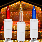 17 ft. Icicle Stringer - (150) Mini Lights - RED, WHITE, BLUE Image