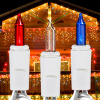 17 ft. Icicle Stringer - (150) Mini Lights - RED, WHITE, BLUE - 27 Icicle Drops - White Wire - Commercial Duty - 3 Set Max Connections