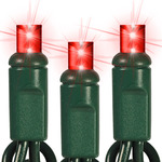 Red LED String Lights - 25 ft. - Green Wire - 5mm Wide Angle - 50 Bulbs Image