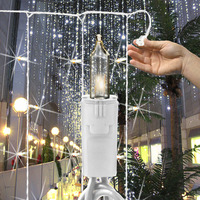 (100) Bulbs - Curtain Light - (5) Drops - Clear Mini Lights - 3 ft. Length - 6 in. Drop Spacing - White Wire
