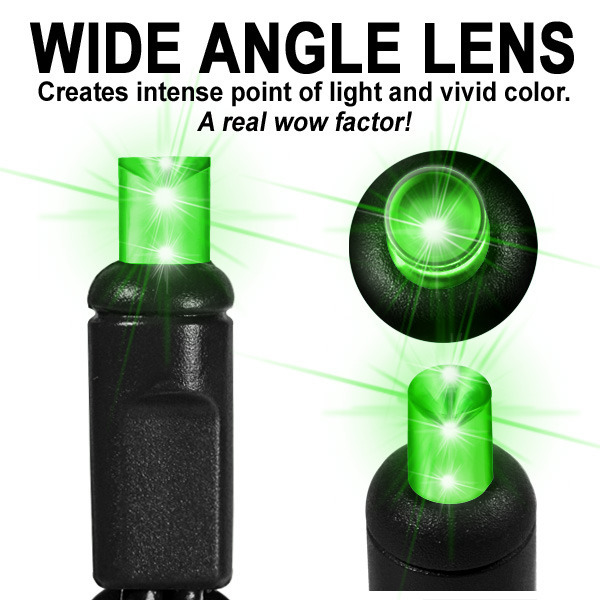 Lime Green Frost LED String Lights - 25 ft. - Black Wire - 5mm Wide Angle - 50 Bulbs Image