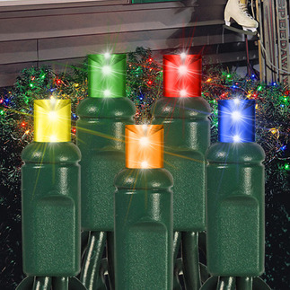 Multi-Color - 120 Volt - 105 LED Bulbs - Wide Angle Lens - 4 ft. x 6 ft. - Green Wire - Christmas Net Lights - Superior Holiday Lighting 1100016 Wide Angle LED Light String