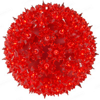 (100) RED Mini Lights - 7.5 in. dia. Starlight Sphere - Green Wire - Indoor/Outdoor - 120 Volt