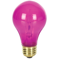 25 Watt - A19 Light Bulb - Transparent Pink - Medium Brass Base - 120 Volt - Bulbrite 105625