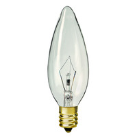 40 Watt - B9.5 - Clear - Straight Tip - 2,500 Life Hours - 384 Lumens - Candelabra Base - 130 Volt