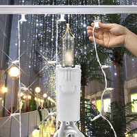 (100) Bulbs - (1) Curtain Strand - Clear Mini Lights - 50 ft. Length - 6 in. Bulb Spacing - White Wire - Light Bar Sold Separately