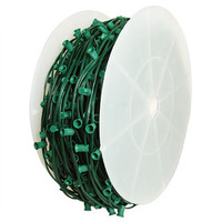 C7 Stringer - 1000 ft. - 1000 Candelabra Sockets - Green Wire - Socket Spacing 12 in. - SPT-2